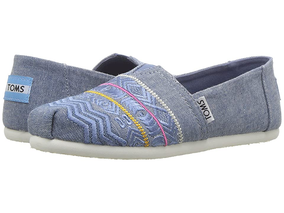 TOMS Kids Alpargata (Little Kid/Big Kid) (Blue Global Embroidery/Chambray) Girl