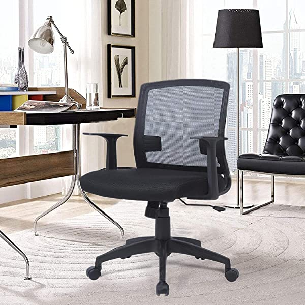Office Chair Ergonomic Office Chair Mesh Executive Office Chair With Adjustable Seat Lumbar Support Armrest Swivel Computer Desk Chair For Home Office Study Medium Back Black