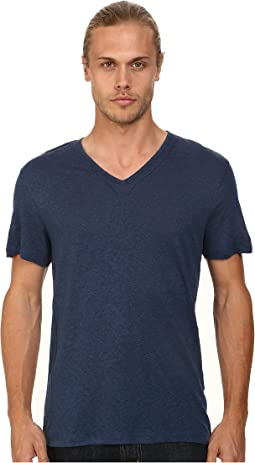 Short Sleeve Knit V-Neck with Pintuck Seam Details
