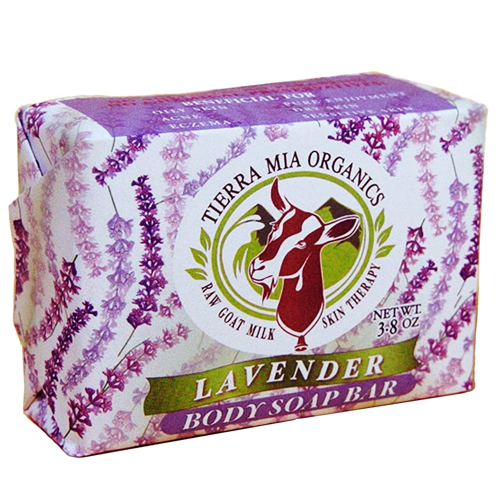 シンジケート優しい現れるTierra Mia Organics, Raw Goat Milk Skin Therapy, Body Soap Bar, Lavender, 4.2 oz