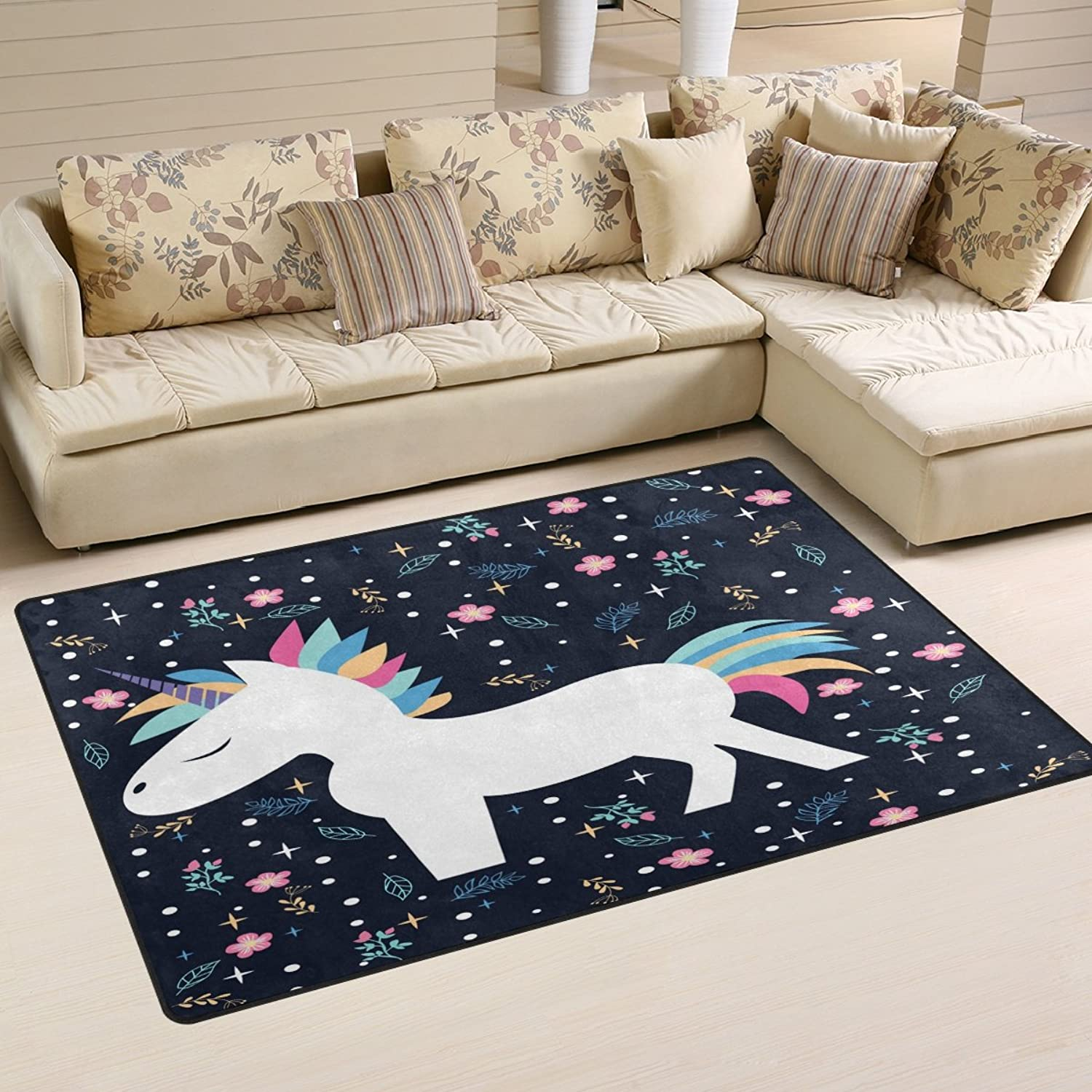 WOZO Floral Cute Animal Unicorn Area Rug Rugs Non-Slip Floor Mat Doormats Living Room Bedroom 60 x 39 inches
