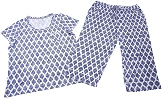 Womens 2 Piece Capri Pajama Set (X-Large, Navy Foulard)