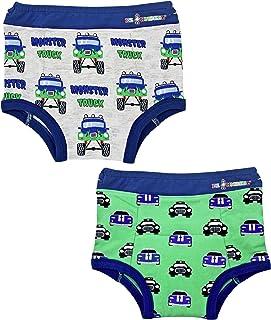 Ez Undeez Toddler Boys Underwear, Padded Potty Training Pants, Easy Pull Ups (4T, Monster Trucks & Cars)