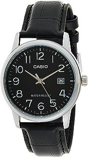 Casio Men's Black Dial Leather Band Watch - MTPV002L-1B