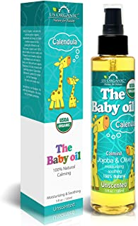 US Organic Baby Oil with Calendula, - Jojoba and Olive Oil with Vitamin E, USDA Certified Organic, No Alcohol, Paraben, Ar...
