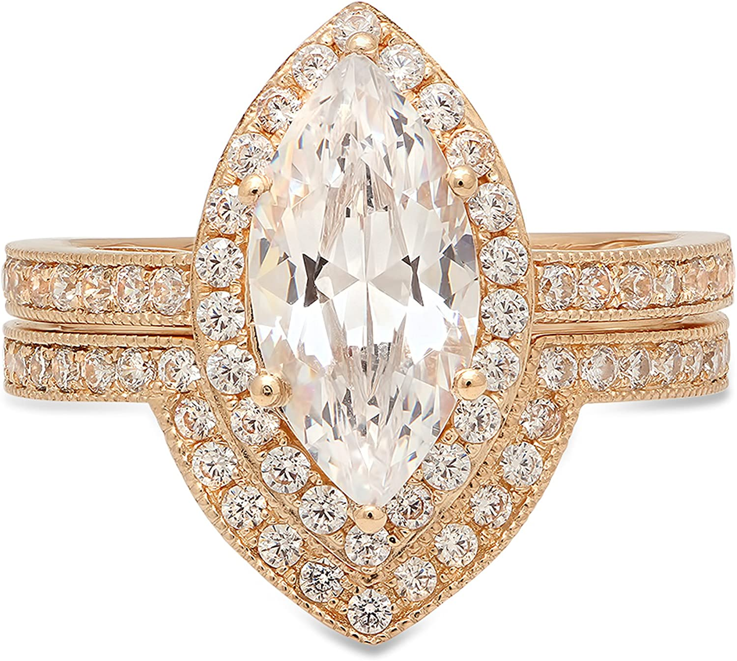 2.16ct Marquise Round Cut Pave Halo Solitaire Accent Genuine Moissanite & Simulated Diamond Engagement Promise Statement Anniversary Bridal Wedding Ring Band set Solid 14k Yellow Gold