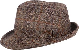 Mens Wool Tweed Check Brown Trilby Fedora Hat BR108