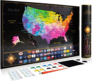 """Premium Scratch Off Map of The United States - Watercolor USA Travel Scratch Map with All States Capitals, Flags and Accessories Included – 11 x 17"""" Unique & Detailed Design – Deluxe GlFT Package"""
