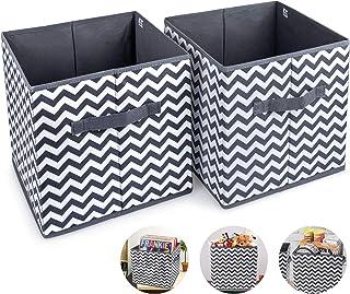 2pcs Cube de Rangement Pliable Boîtes de Rangement 30x30x30cm Tiroirs Non-Tissé Boîtes avec Poignée Panier de Rangement Ca...