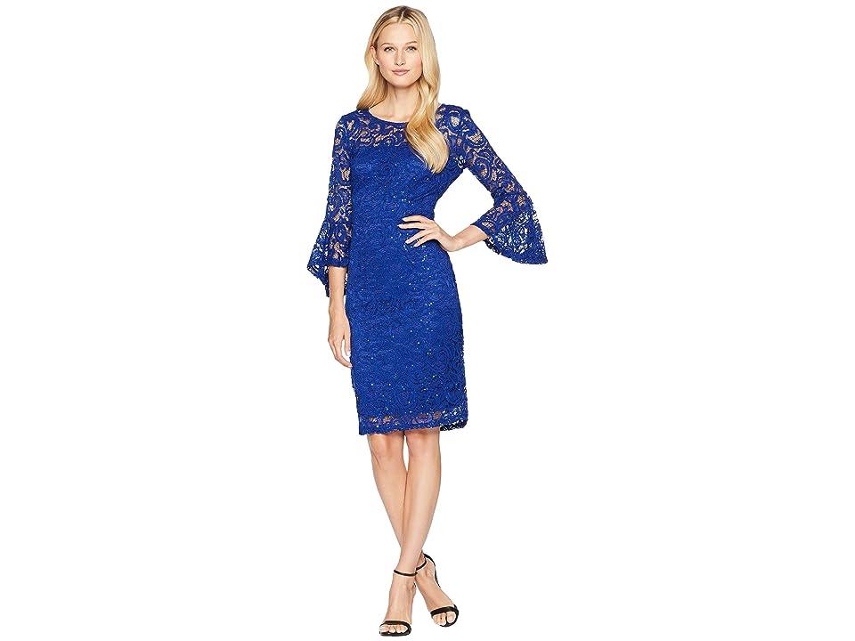 MARINA Sequined Lace Bell Sleeve Short Dress (Cobalt) Women