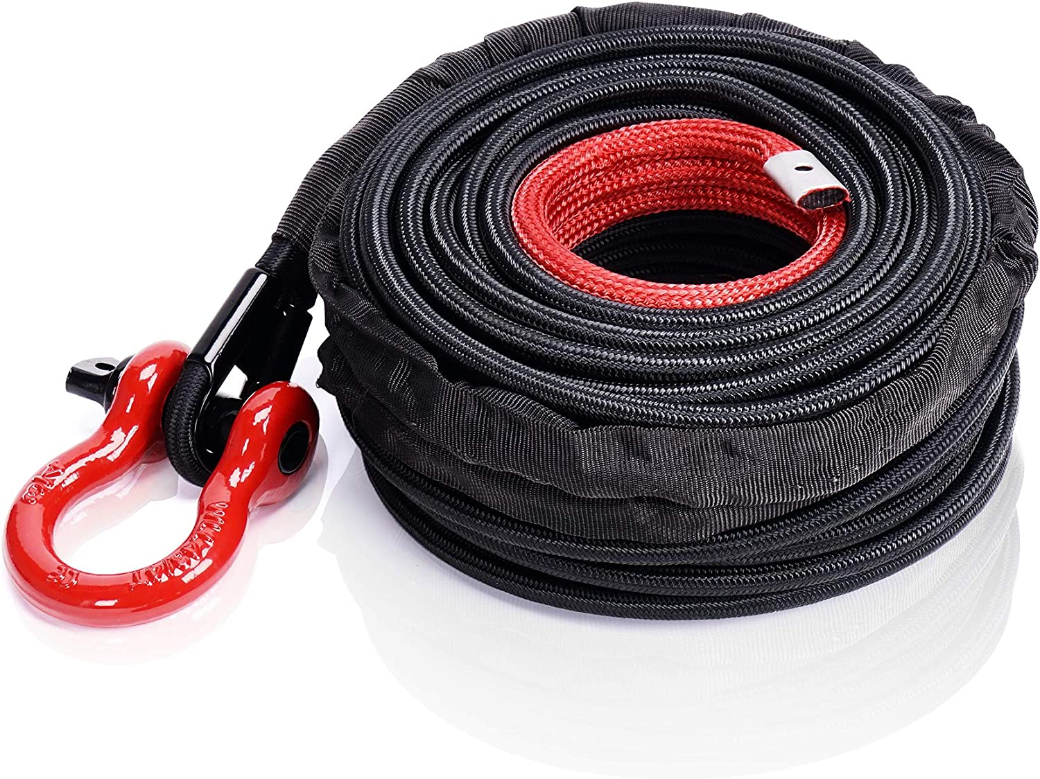 ORCISH Synthetic Winch Rope 3//8 x 92ft with Hook and Protective Sleeve 23809 LBs for 4WD Off-Road Trunk Car Recovery Accessory