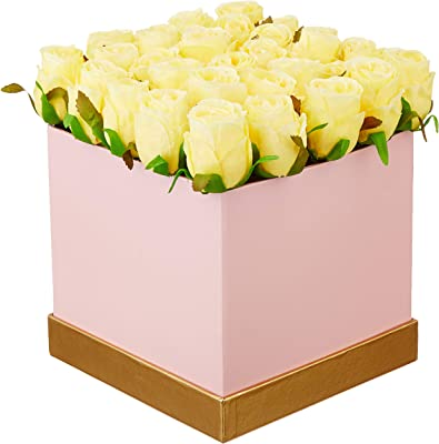 Fourwalls Artificial Rose Flowers in a Box for Valentines Day Gift (25 Flower in Box, 20 cm Tall, Pink and Yellow)