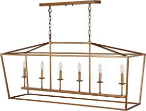 """JONATHAN Y JYL7439B Pagoda 49"""" Linear 6-Bulb Lantern Metal LED Pendant Classic,Traditional Dimmable, Adjustable, for Dining, Living Room, Kitchen, Antique Gold"""
