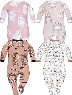 Sibinulo Jungen Mädchen Baby Schlafstrampler Babykleidung Set Größen 0 bis 24 Monate 9-24 mit rutschfest, 4er Pack Mischen