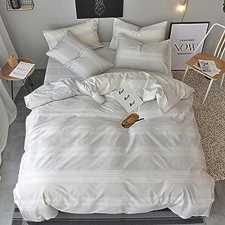 OREISE Duvet Cover Set King Size 100% Cotton White/Light Gray Printed Striped Style Reversible Design 3Piece Bedding Set (1 Duvet Cover + 2 Pillow Shams) with Zipper Closure Soft Breathable Durable