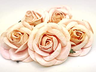 Tyga_Thai Brand 5 pcs. Light Peach Color Rose Mulberry Paper Flower Craft Handmade Wedding 50 mm Scrapbook for so Many Card & Craft Projects PUL4-5#124(MULBERRY-PAPAER-ROSE-50MM)