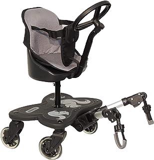 Eichhorn Cozy C-Rider Geschwisterboard mit Sitz und Spiel-Lenkrad für Kinder ab 15 Monaten bis 25 kg 4 Räder mit Sitz