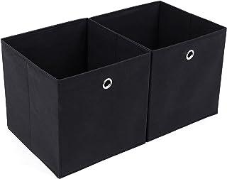 SONGMICS Lot de 2 Boîtes,Tiroirs en Tissu, Cube de Rangement Pliable, Coffre pour Linge, Jouets, Vêtements, 30 x 30 x 30 c...