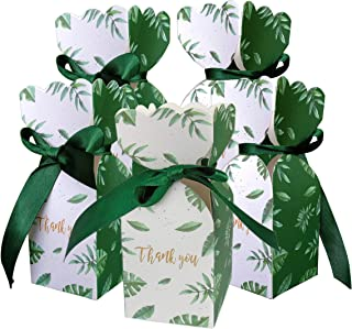 Lontenrea 50 Pcs Candy Boxes Wedding Birthday Party Favor Gift Box with 50pcs Black Green Ribbon Decoration