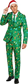 Suitmeister Christmas Suits for Men in Different Prints – Ugly Xmas Sweater Costumes Include Jacket Pants & Tie + Free Hat
