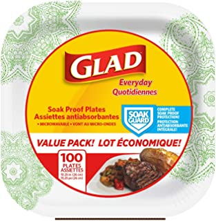 Glad Square Disposable Paper Plates for All Occasions | Soak Proof, Cut Proof, Microwaveable Heavy Duty Disposable Plates | 10