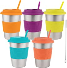 Homeries Kids Stainless Steel Cups Tumbler with Silicone Lid & Straws (Set of 5) | Ecofriendly Drinking Tumblers for Child...