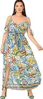 Milumia Women's Plus Size Cold Shoulder Floral Slit Hem...