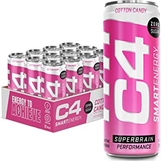 C4 Smart Energy Sugar Free Energy Drink 12oz (Pack of 12) - Cotton Candy - Performance Fuel & Nootropic Brain Booster with...
