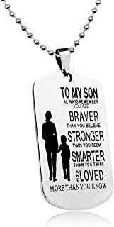 LITTONE Love Gift to My Son Dog Tags from Mum Boy Necklaces Military Chains Pendants LNH9345#