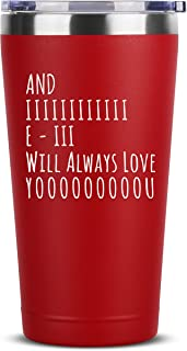 And I Will Always Love You | 16 oz Red Insulated Stainless Steel Tumbler w/Lid | Birthday Christmas Valentines Day Gift Present Ideas for Wife from Husband | Gifts Presents Idea for Her Him Spouse