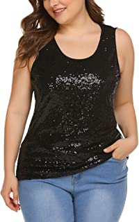 Women's Plus Size Sequin Top Shimmer Tank Tops Sparkle Glitter Embellished Sleeveless Vest Sparkly Shirts