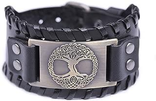 Tree of Life Celtic Knot Symbol Braided Wide Leather Wristband Bracelet