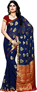e2f9763d54 Mimosa Women's Chiffon Saree With Blouse Piece (2117-Nvy-Rd,Navy Blue