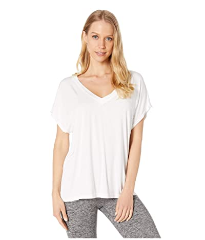 Hard Tail Slouchy V-Neck Short Sleeve Tee (White) Women