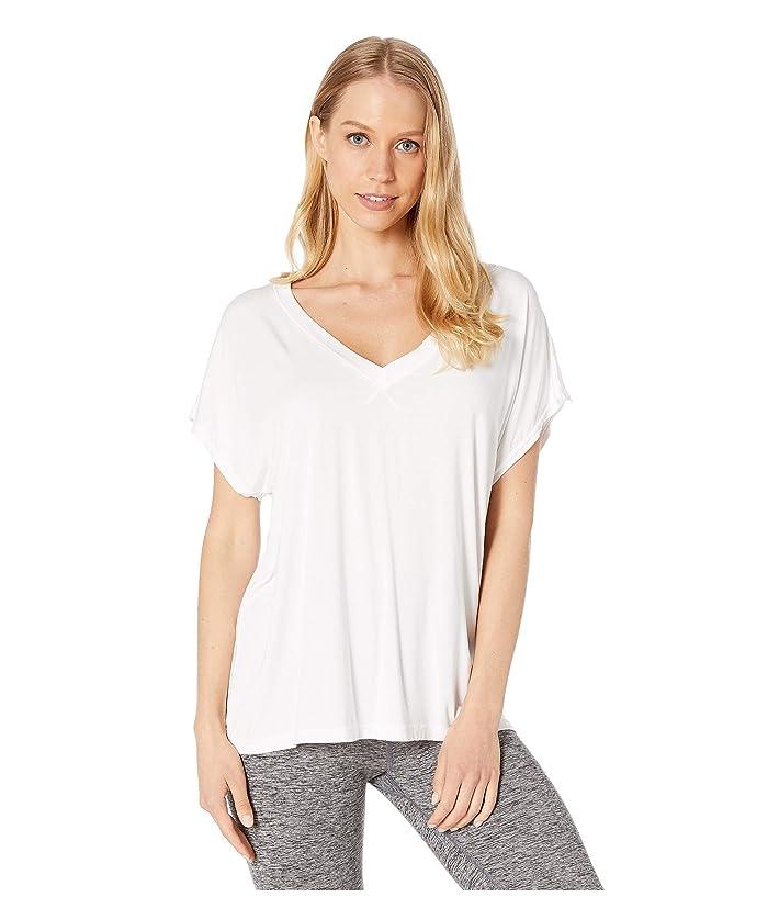 Hard Tail Slouchy V-Neck Short Sleeve Tee (White) Women