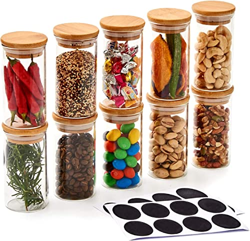 EZOWare 10 Bottles Glass Jar Set, Small Air Tight Canister Storage Containers with Natural Bamboo Lids and Chalkboard...