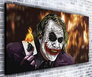 The Joker Card Heath Ledger Batman Movie Panoramic Canvas Wall Art Print Framed XXL 55 inch x 24 inch Over 4.5 ft Wide x 2 ft High Ready to Hang Canvas Print - Landscape Photograph - Modern Art…