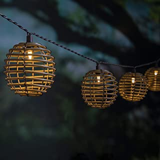 Outdoor Solar Decorative Lights, ALL FORTUNE 10 LED Patio String Lights Waterproof with Rattan Decor Balls, Warm White Bac...