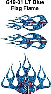 Wild Dingos LLC ST2 - Multi-Color Flame Decal Kit Golf Cart, UTV, RC, ATV, ROXOR, Tank, Motorcycle (B - Large, G19-01 LT Blue Flag)