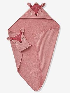 VERTBAUDET Cape de bain + gant Biche blush 80X80