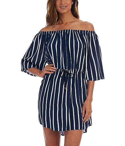 La Blanca Capri Stripe Off-the-Shoulder Dress