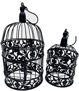 PET SHOW Pack of 2 Round Birdcages Decor Metal Wall Hanging Bird Cage for Small Birds Wedding Party Indoor Outdoor Decorat...