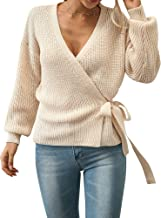 Ezcosplay Wrap V Neck Bow Tie Side Blouse Long Sleeve Knitted Sweater for Women