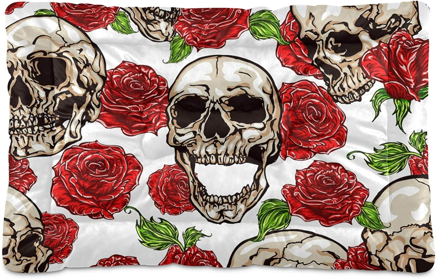 Dog Bed Mat Skull Skeleton Beauty products Max 58% OFF Crate Washab Flowers Mattress