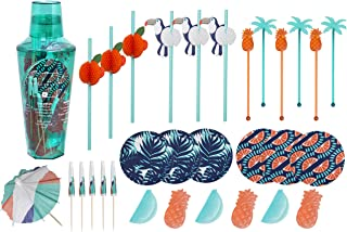 WANDERLUST 31-Piece Summer Cocktail Kit, Serves 6, with Cocktail Shaker with Recipes and Measurements, Drink Parasols/Umbrellas, Reusable Fruit-Themed Ice Cubes, Coasters, Stirrers, and Paper Straws