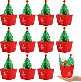 Kesote 24Pcs Christmas Tree Candy Box with Ring Bell Set, Christmas Treat Box Chocolate Box for Party Supplies