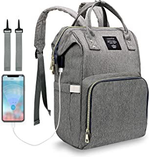 Diaper Bag Backpack, LEQUEEN Waterproof Large Capacity Bags with USB Charging Port for Mom & Dad