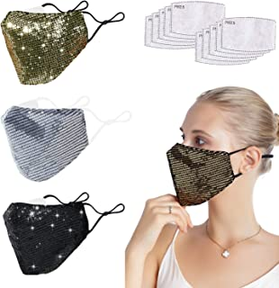 Pretty Glitter Sequin Cotton Face Cover for Women Reusable Halloween Sparkly Bling Cloth Mask