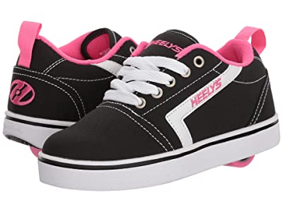 Heelys GR8 Pro (Little Kid/Big Kid/Adult) (Black/White/Hot Pink) Girls Shoes