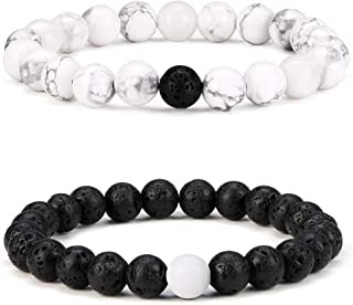2 Pcs Couple Distance Relationship Bracelets Black Matte Agate & White Howlite Energy Beads Stone Ying Yang Balance Bracelet Banglet for Lovers Touch Bracelets Long Distance Relationship